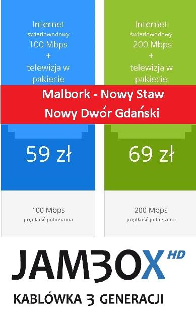 internet światłowód telewizja Malbork Nowy Staw Nowy Dwór Gdanski