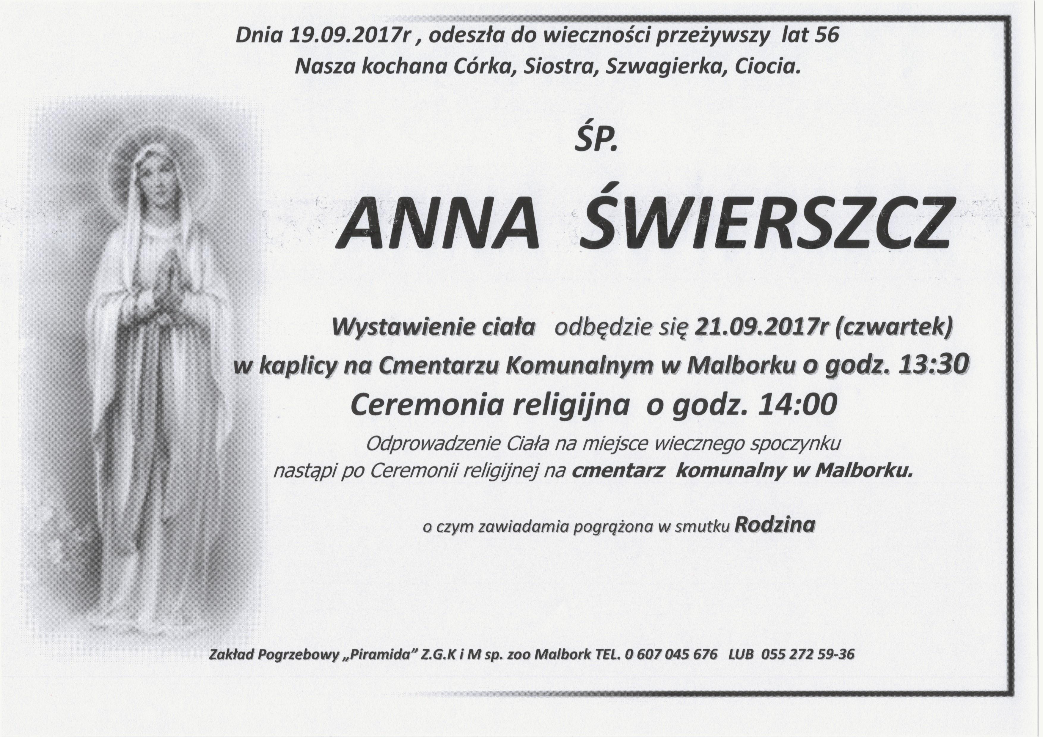 Zmarła Anna świerszcz żyła 56 Lat Tvmalborkpl