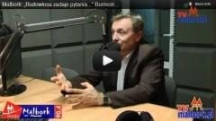Rudowlosa zadaje pytania Burmistrzowi Miasta Malborka Andrzejowi Rychłowskiemu