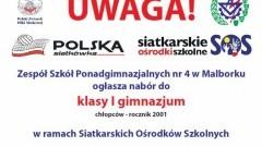 NABÓR DO PIERWSZEJ GIMNAZJUM W RAMACH SIATKARSKICH OŚRODKÓW SZKOLNYCH W ZSP 4 W MALBORKU - 31.03.2014