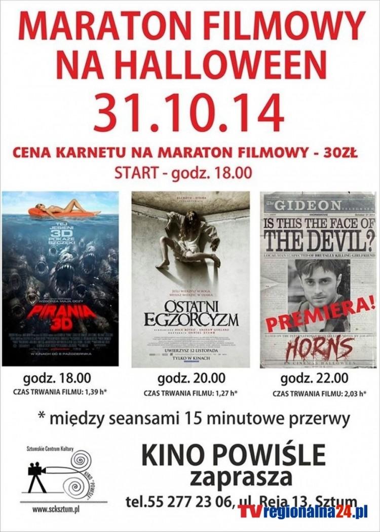 SZTUMSKIE CENTRUM KULTURY ZAPRASZA NA MARATON FILMOWY W HALLOWEEN - 31.10.2014