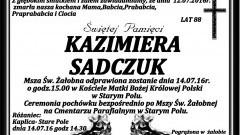 Zmarła Kazimiera Sadczuk. Żyła 88 lat.