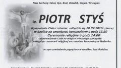 Zmarł Piotr Styś. Żył 41 lat.