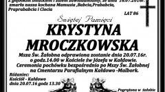 Zmarła Krystyna Mroczkowska. Żyła 86 lat.