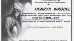 Zmarł Hennryk Wróbel. Żył 80 lat.