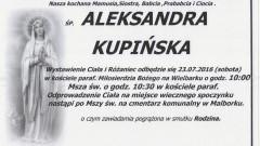Zmarła Aleksandra Kupińska. Żyła 80 lat.