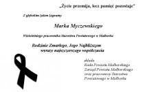 """""""Życie przemija, lecz pamięć pozostaje"""". Pożegnanie Marka Myczewskiego pracownika Starostwa Powiatowego w Malborku"""