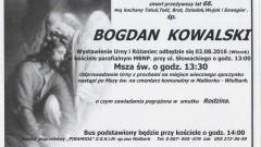 Zmarł Bogdan Kowalski. Żył 66 lat.