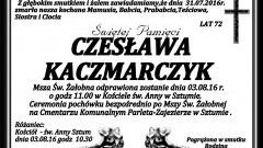 Zmarła Czesława Kaczmarczyk. Żyła 72 lata