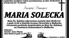 Zmarła Maria Solecka. Żyła 78 lat.