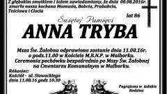 Zmarła Anna Tryba. Żyła 86 lat