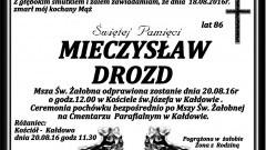 Zmarł Mieczysław Drozd. Żył 86 lat.