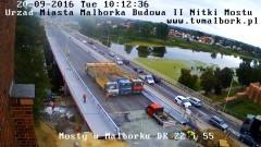 Trwa próbne obciążenie nowego mostu na rzece Nogat w Malborku - 20 września 2016