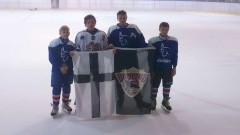 Czwórka zawodników UKS Bombek SP3 Malbork w rozgrywkach hokeja na lodzie - 01-02.10.2016