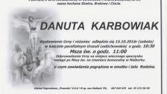 Zmarła Danuta Karbowiak. Żyła 69 lat
