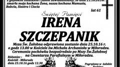 Zmarła Irena Szczepanik. Żyła 61 lat.