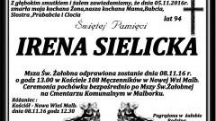 Zmarła Irena Sielicka. Żyła 94 lata.