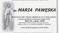 Zmarła Maria Pawęska. Żyła 89 lat.