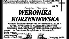 Zmarła Weronika Korzeniewska. Żyła 93 lata.
