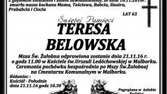 Zmarła Teresa Belowska. Żyła 63 lata.