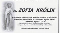 Zmarła Zofia Królik. Żyła 87 lat.