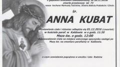 Zmarła Anna Kubat. Żyła 73 lata.