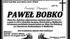 Zmarł Paweł Bobko. Żył 76 lat.