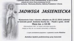 Zmarła Jadwiga Jasieniecka. Żyła 84 lata.