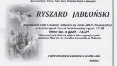 Zmarł Ryszard Jabłoński. Żył 62 lata.
