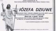 Zmarła Józefa Dziuwe. Żyła 74 lata.