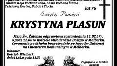 Zmarła Krystyna Plasun. Żyła 76 lat.