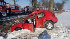 Uwaga kierowcy, ślisko na drogach! Uderzyła w drzewo, trafiła do szpitala. Wypadek w okolicach Nowego Stawu - 14.02.2017