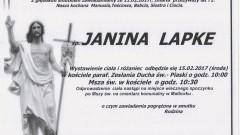 Zmarła Janina Lapke. Żyła 71 lat.
