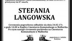 Zmarła Stefania Langowska. Żyła 87 lat.