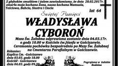 Zmarła Władysława Cyboroń. Żyła 64 lata.