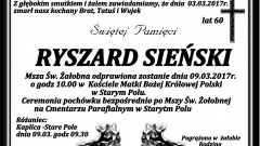 Zmarł Ryszard Sieński. Żył 60 lat.