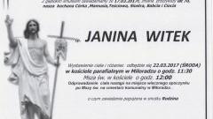 Zmarła Janina Witek. Żyła 70 lat.