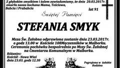 Zmarła Stefania Smyk. Żyła 91 lat.