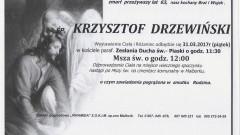 Zmarł Krzysztof Drzewiński. Żył 63 lata.
