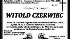 Zmarł Witold Czerwiec. Żył 65 lat.