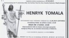 Zmarł Henryk Tomala. Żył 77 lat.