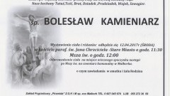 Odszedł Bolesław Kamieniarz. Żył 81 lat.