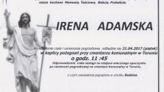 Zmarła Irena Adamska. Żyła 91 lat.