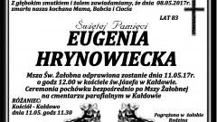 Zmarła Eugenia Hrynowiecka. Żyła 83 lata.