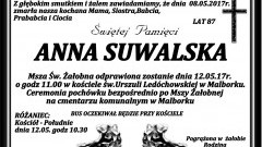 Zmarła Anna Suwalska. Żyła 87 lat.