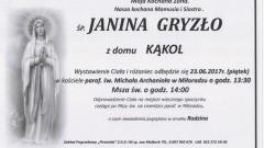Zmarła Janina Gryzło. Żyła 56 lat.