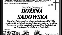 Zmarła Bożena Sadowska. Żyła 61 lat