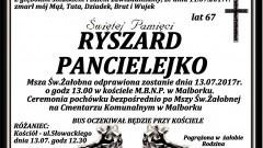 Zmarł Ryszard Pancielejko. Żył 67 lat