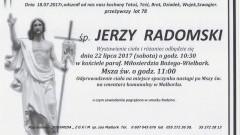 Zmarł Jerzy Radomski. Żył 78 lat.