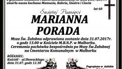 Zmarła Marianna Porada. Żyła 60 lat.